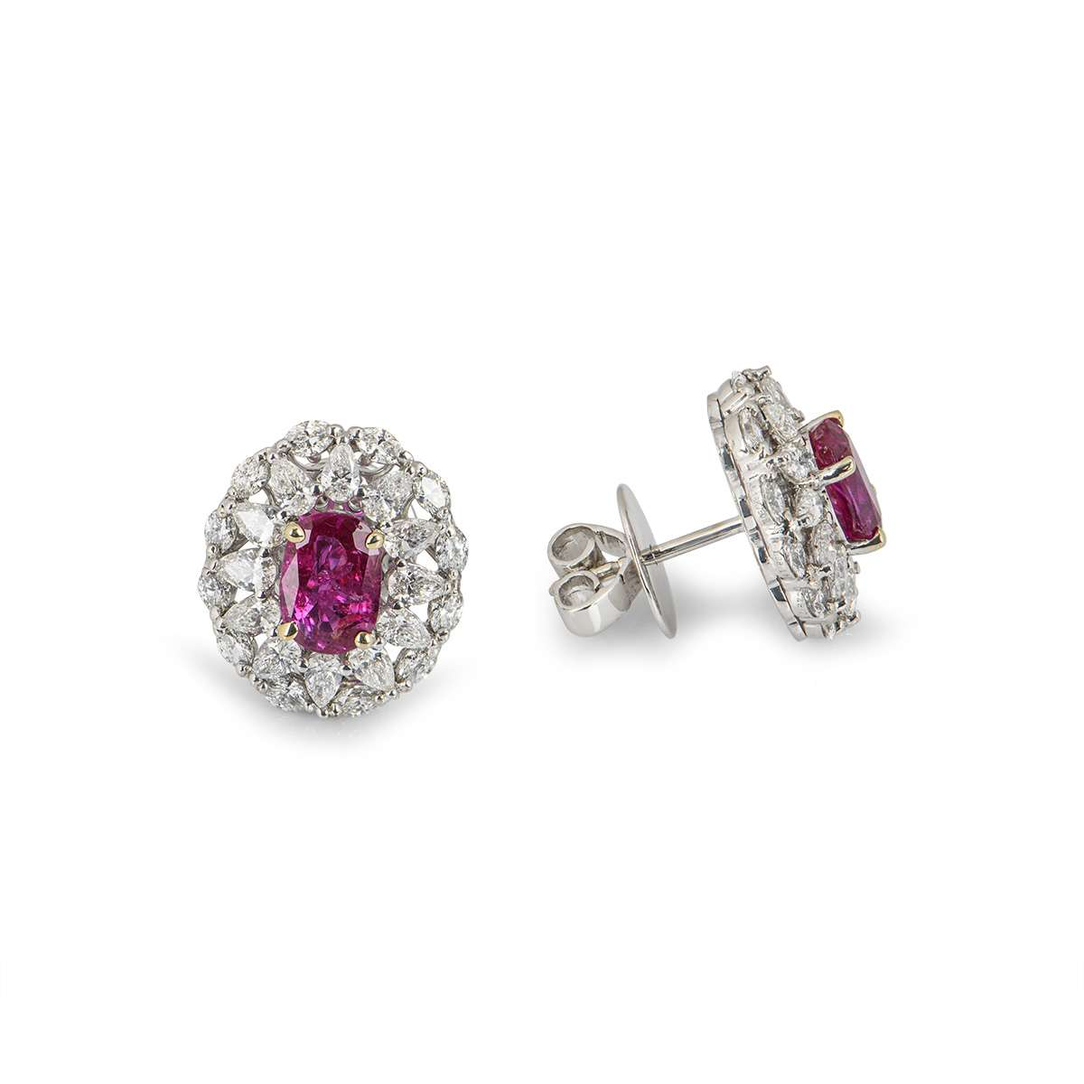 White Gold Natural Burmese Ruby and Diamond Earrings